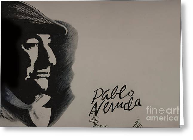 Pablo Greeting Cards - Mural Of Nobel Laureate Poet Pablo Neruda Greeting Card by Al Bourassa