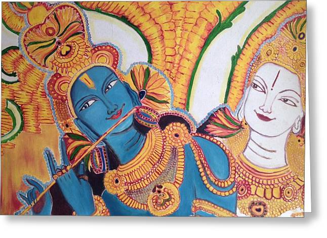 Mural painting of krishna and radha painting by sreekala for Mural radha krishna