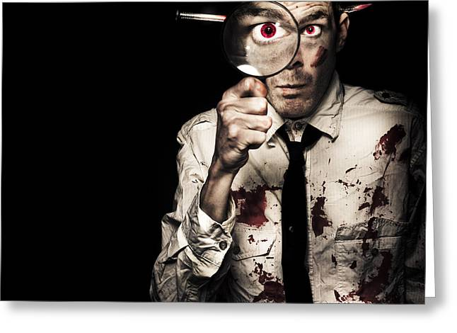 Isolated On Black Background Greeting Cards - Murdered Businessman Searching For Homicide Clues Greeting Card by Ryan Jorgensen