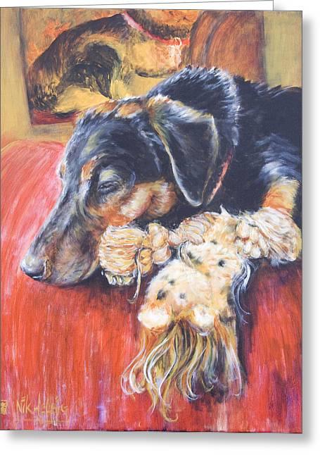 Dog Sleeping Greeting Cards - Murphy VIII Greeting Card by Nik Helbig