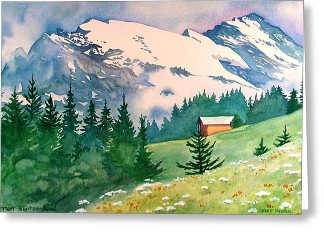 Best Sellers -  - Scott Nelson Greeting Cards - Murren Switzerland Greeting Card by Scott Nelson