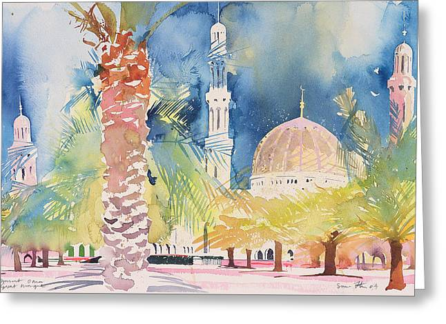 Great Mosque Greeting Cards - Muscat  Great Mosque Greeting Card by Simon Fletcher