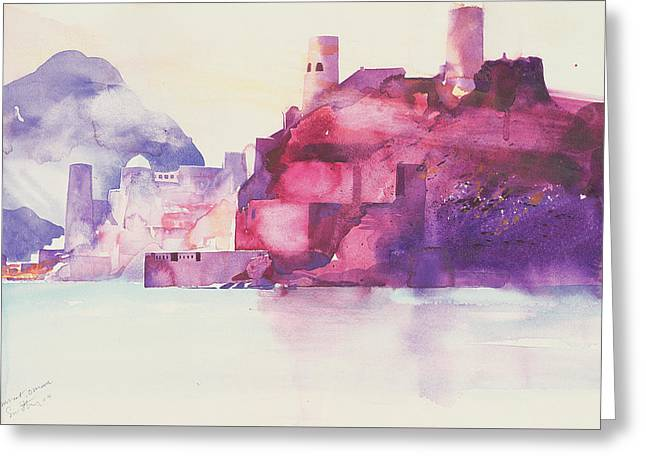 Mediterranean Landscape Drawings Greeting Cards - Muscat Oman Greeting Card by Simon Fletcher