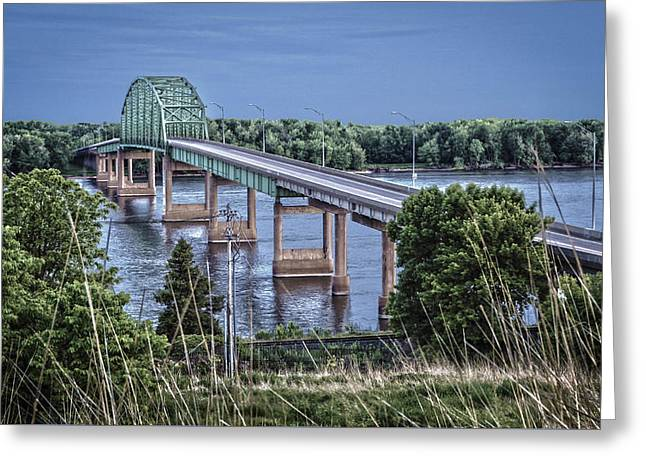 Muscatine Greeting Cards - Muscatine Bridge Greeting Card by Ray Congrove