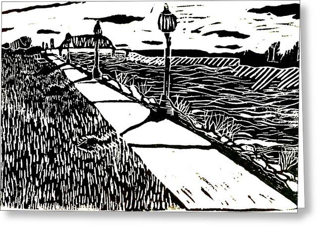 Sidewalk Drawings Greeting Cards - Muscatine Riverfront Greeting Card by Jame Hayes