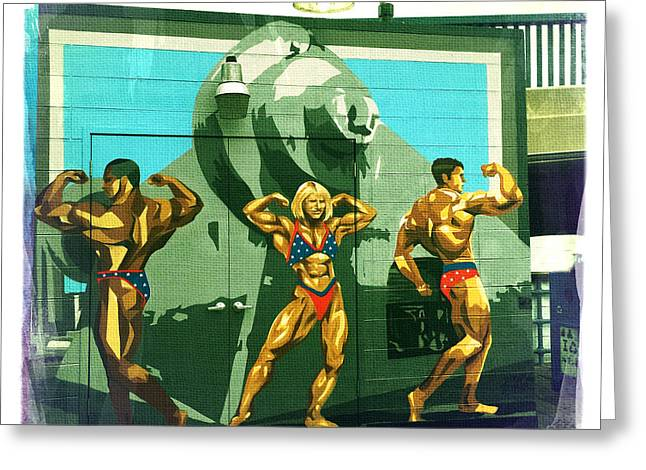 Lalanne Greeting Cards - Muscle Beach Greeting Card by Nina Prommer