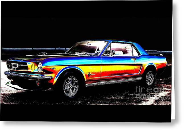 Caves Greeting Cards - Muscle Car Mustang Greeting Card by Annie Zeno