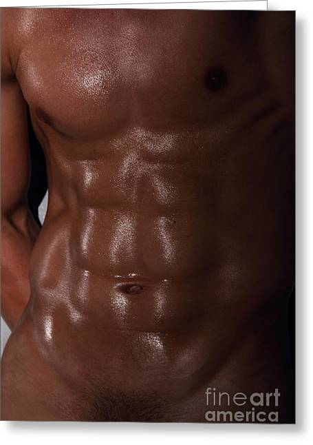 Nude Digital Greeting Cards - Muscle Man Greeting Card by Mark Ashkenazi