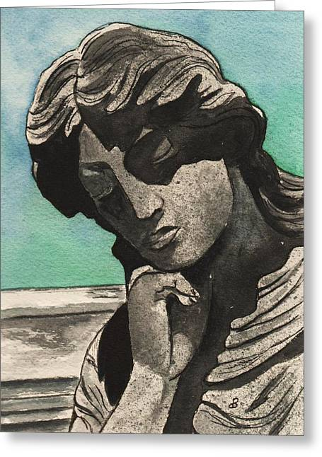 Statue Portrait Paintings Greeting Cards - Muse  Greeting Card by Brenda Owen