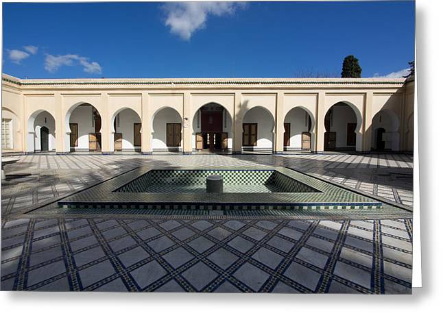 Moroccan Courtyard Greeting Cards - Musee Du Batha In Fes, Moulay Yacoub Greeting Card by Panoramic Images