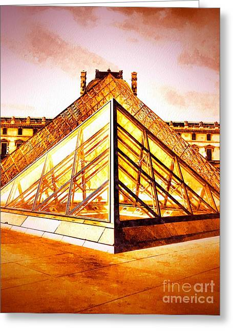 Pop Mixed Media Greeting Cards - Musee du Louvre Greeting Card by Daniel Janda