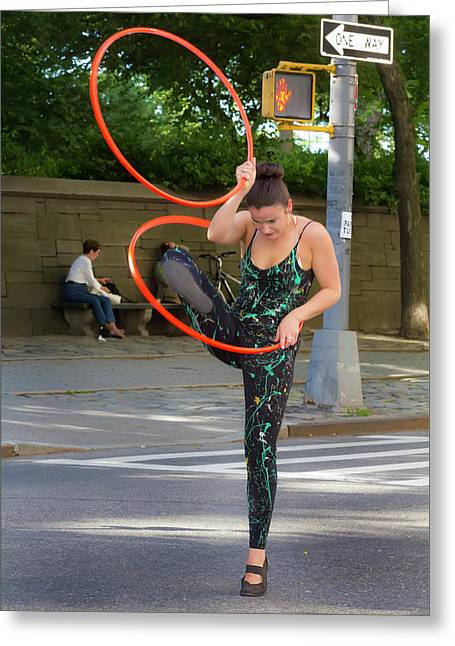 Museum Mile Nyc 6_14_16 Dancer With Hula Hoops Greeting Card by Robert Ullmann