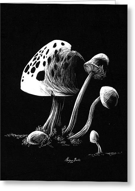 Black Reliefs Greeting Cards - Mushroom patch Greeting Card by Morgan Banks