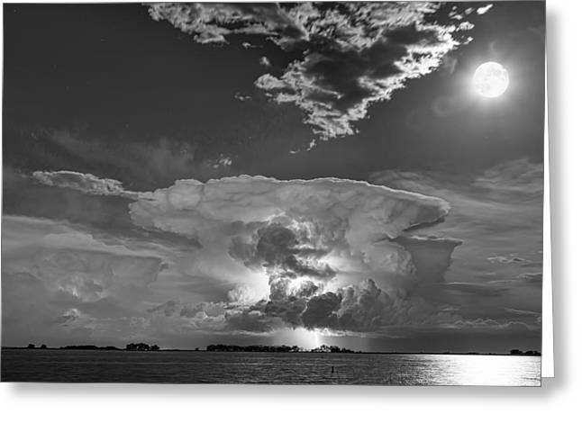Morgan County Greeting Cards - Mushroom Thunderstorm Cell Explosion and Full Moon BW Greeting Card by James BO  Insogna