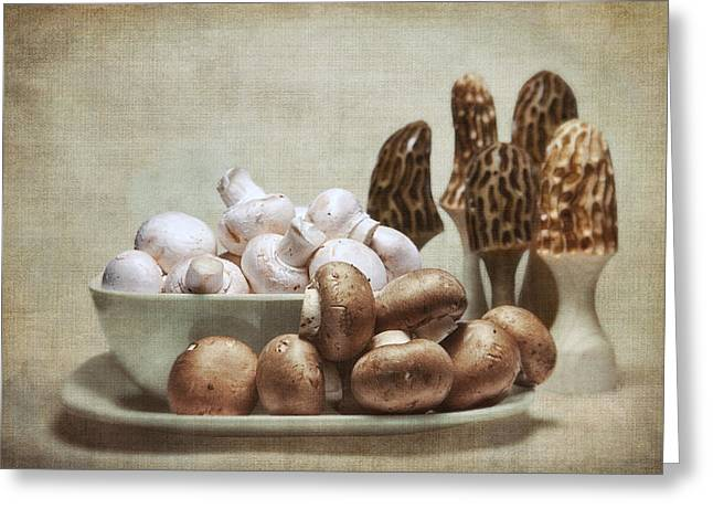 White Bowl Greeting Cards - Mushrooms and Carvings Greeting Card by Tom Mc Nemar