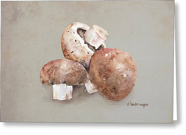 Fungi Paintings Greeting Cards - Mushrooms Greeting Card by Arline Wagner