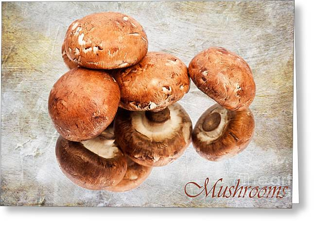 Button Mushrooms Greeting Cards - Mushrooms Greeting Card by Jan Tyler