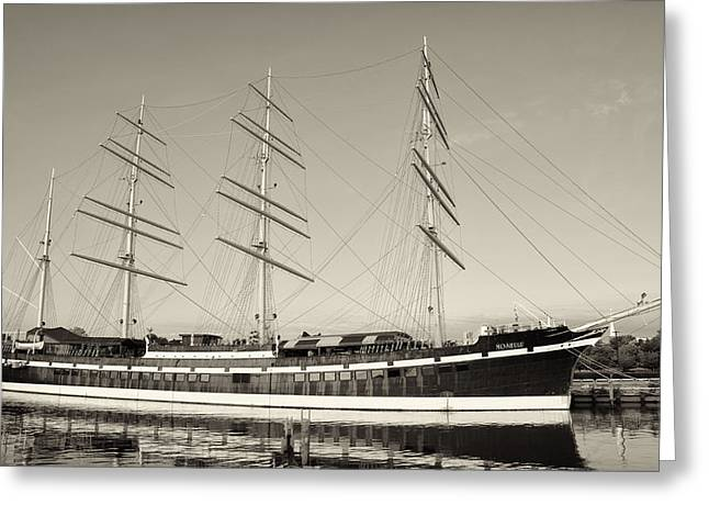 Mushulu - Penns Landing In Sepia Greeting Card by Bill Cannon