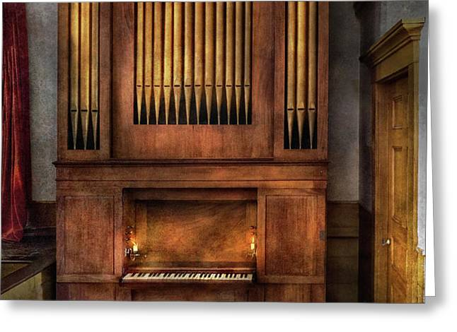 Music - Organist - What a big organ you have  Greeting Card by Mike Savad