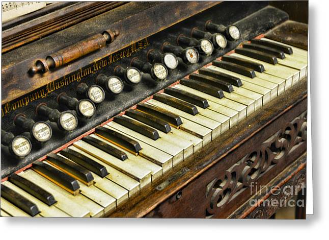 Music Lover Greeting Cards - MUSIC - Pump Organ - Antique Greeting Card by Paul Ward