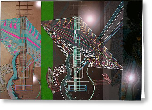 Geometric Artwork Greeting Cards - Music from day to night Greeting Card by B and C Art Shop