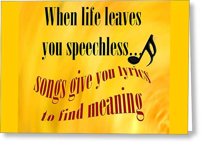 Marching Band Greeting Cards - Music Gives you Lyrics  Greeting Card by M K  Miller