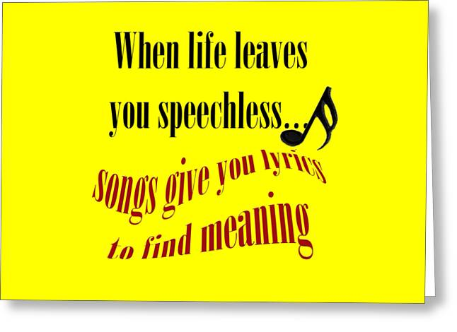 Marching Band Greeting Cards - Music Gives You Lyrics to Find Meaning Greeting Card by M K  Miller