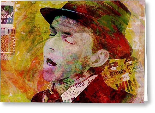 Music Icons - Frank Sinatra Ill Greeting Card by Joost Hogervorst