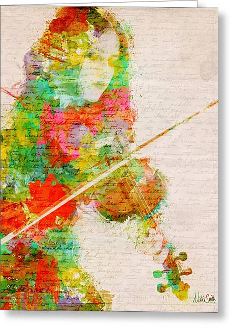String Art Greeting Card featuring the digital art Music In My Soul by Nikki Smith