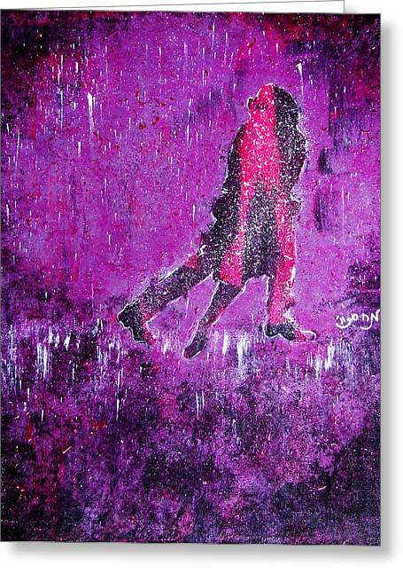 Music Inspired Dancing Tango Couple In Purple Rain Contemporary Lyrical Splattered And Emotional Greeting Card by M Zimmerman