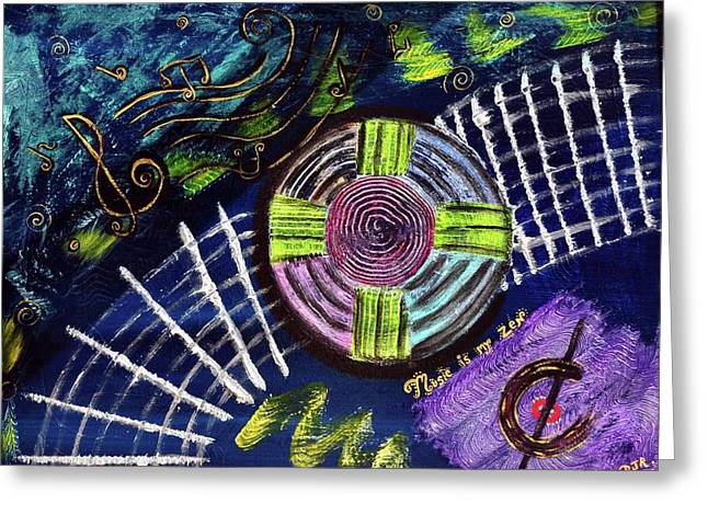 Music Is My Zen Greeting Card by Davids Digits
