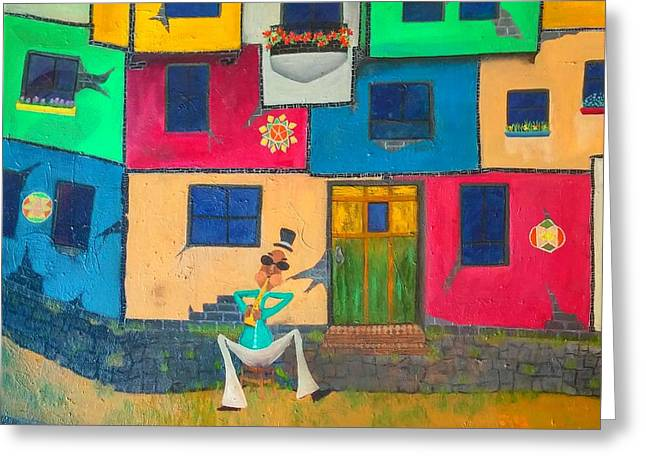 Colorful Tapestries - Textiles Greeting Cards - Music Man Greeting Card by Carmen Rumley
