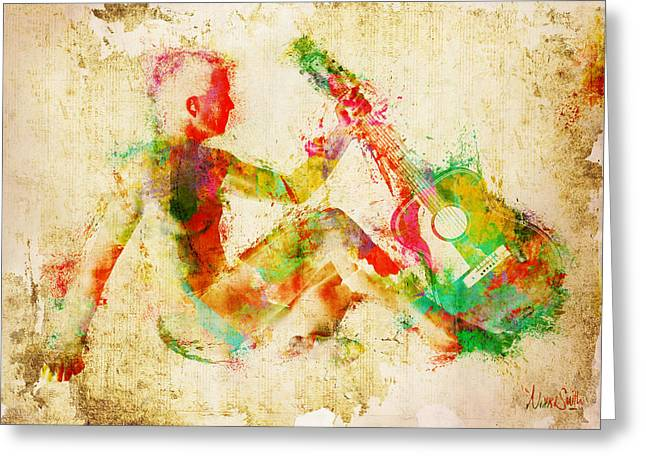 Acoustical Digital Art Greeting Cards - Music Man Greeting Card by Nikki Marie Smith