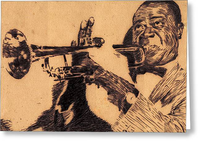 Robbi Musser Drawings Greeting Cards - Music Man Greeting Card by Robbi  Musser