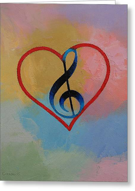 Music Note Greeting Card by Michael Creese