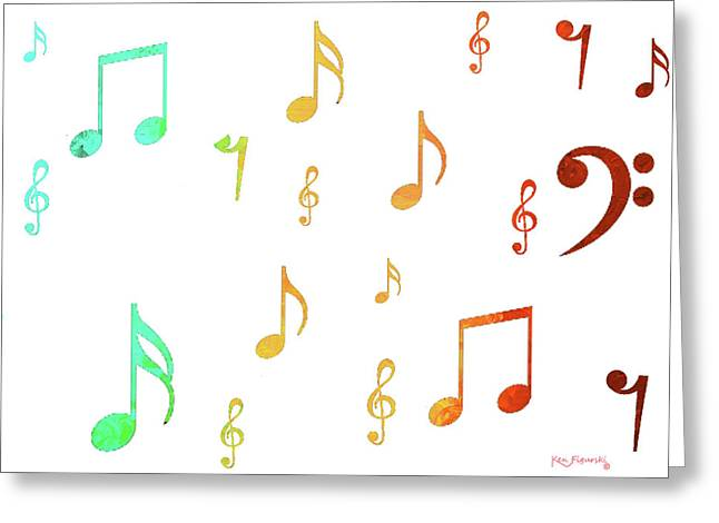 Music Notes Greeting Card by Ken Figurski
