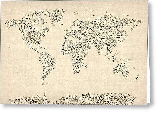 World Map Greeting Cards - Music Notes Map of the World Map Greeting Card by Michael Tompsett