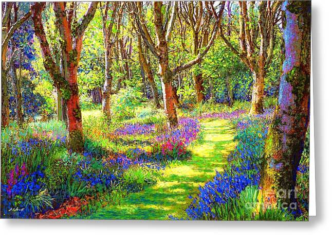 Woodland Scenes Paintings Greeting Cards - Music of Light Greeting Card by Jane Small