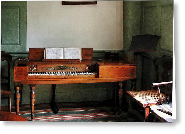 Music Room With Piano Greeting Card by Susan Savad