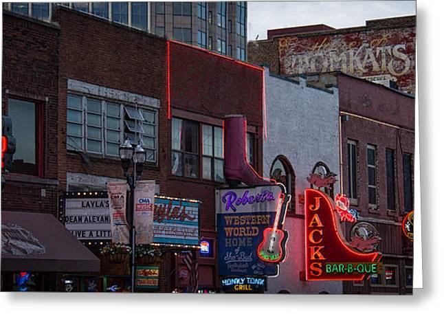 Live Music Greeting Cards - Music Row Nashvile Greeting Card by Mike Burgquist