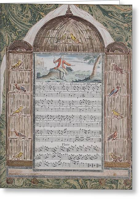 French School; (18th Century) Greeting Cards - Music Score Greeting Card by MotionAge Designs