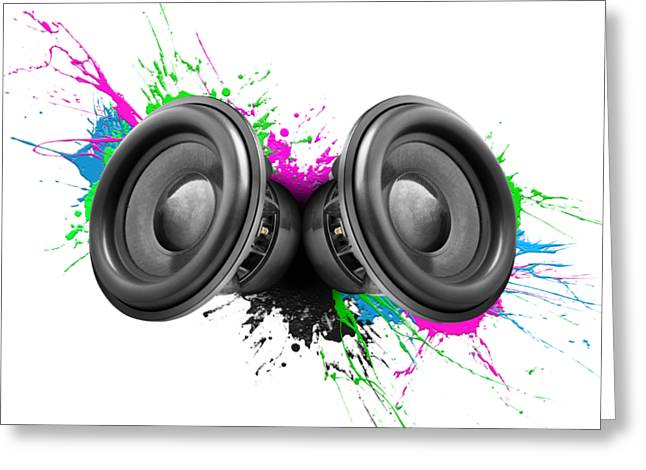 Music Speakers Colorful Design Greeting Card by Johan Swanepoel
