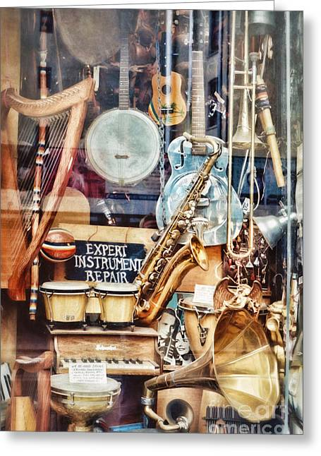 Music Store Nyc Greeting Card by HD Connelly