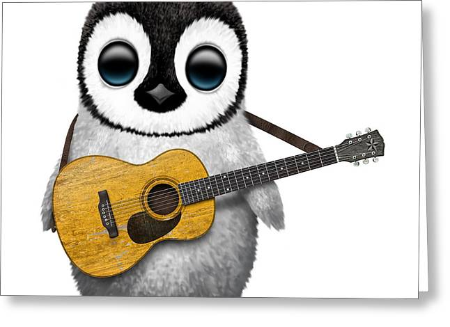 Playing Digital Art Greeting Cards - Musical Baby Penguin Playing the Acoustic Guitar Greeting Card by Jeff Bartels