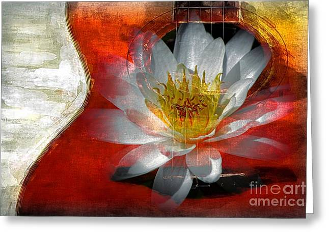 Graceful Lotus Greeting Cards - Musical Beauty Greeting Card by Clare Bevan
