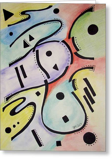 Scroll Pastels Greeting Cards - Musical Current Greeting Card by Jason Moore