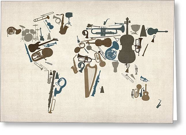 Print Art Greeting Cards - Musical Instruments Map of the World Map Greeting Card by Michael Tompsett