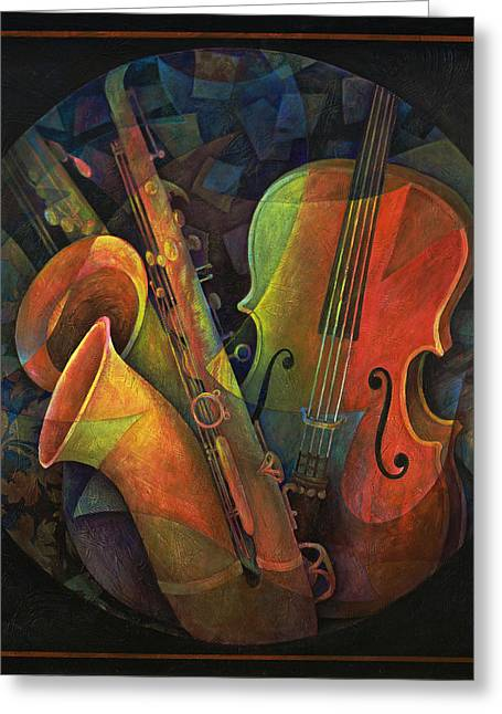 Music And Art Greeting Cards - Musical Mandala - Features Cello and Saxs Greeting Card by Susanne Clark