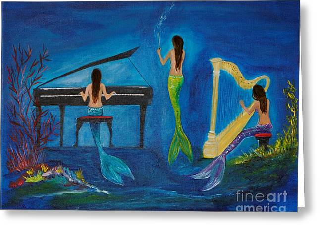Recently Sold -  - Playing Musical Instruments Greeting Cards - Musical Mermaids Greeting Card by Leslie Allen