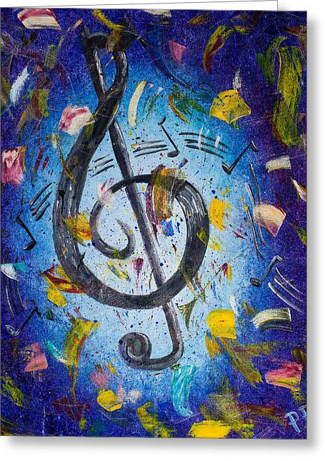 Clef Greeting Cards - Musical Party Greeting Card by Paul Bartoszek